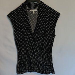 Polka dot faux wrap shirt